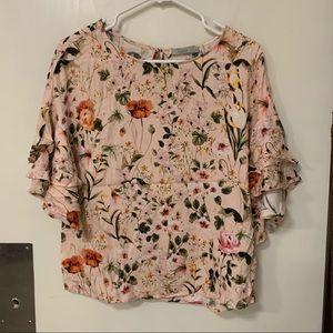 Dahlia floral ruffle sleeve top